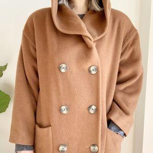 Vtg Camel Hooded Mohair Wool Blend Coat 12
